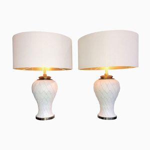 Large Italian Ceramic Artichoke Lamps, 1970s, Set of 2