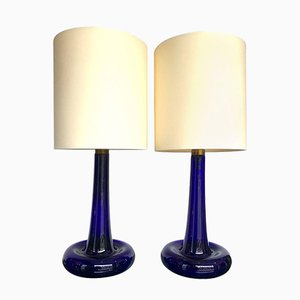 Vintage Cobalt Blue Fleur Lamps by Michael Bang for Holmegaard, Set of 2