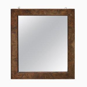 Specchio a muro antico in legno di noce