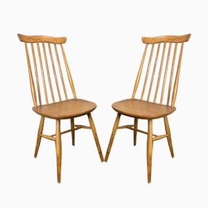 Vintage Wooden Dining Chairs, 1960s, Set of 2