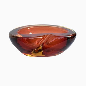 Submerged Murano Glass Amber Ashtray by Alfredo Barbini, 1960s