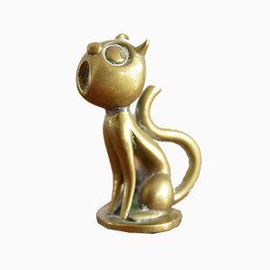 Figura de un gato cantando vintage de bronce de Hagenauer Werkstätte, años 60