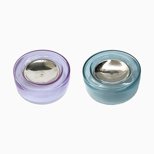 Iridescent Blown Glass & Silver Ashtrays, 1970s, Set of 2