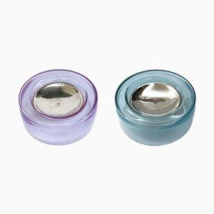 Posacenere in vetro soffiato iridescente e argentato, anni '70, set di 2