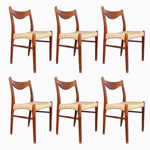 Sillas escandinavas de teca y cuerda de Arne Wahl Iversen para Glyngøre Stolefabrik, años 60. Juego de 6