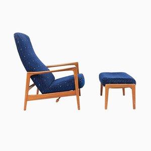 Butaca reclinable vintage con otoamana de Folke Ohlsson para Dux, años 60. Juego de 2