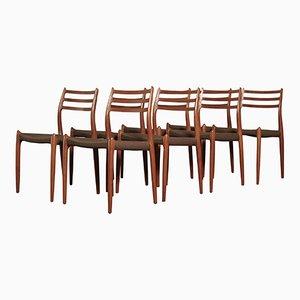 Sedie da pranzo nr. 78 di Niels O. Møller, anni '60, set di 8