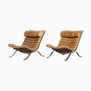 Vintage Leather Ari Chairs by Arne Norell for Norell Mobler, 1970s, Set of 2
