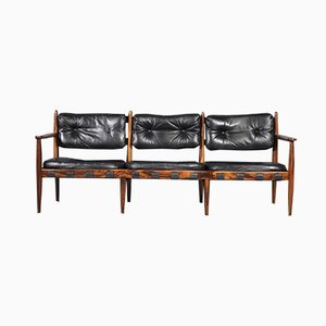 Vintage Palisander and Black Leather Sofa by Eric Merthen for IRE AB Skillingaryd Möbler, 1960s