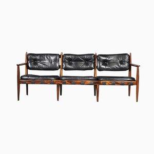 Vintage Palisander and Black Leather Sofa by Eric Merthen for IRE AB Skillingaryd Möbler, 1960s