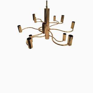 Lámpara de araña italiana de latón de Gaetano Sciolari, años 70