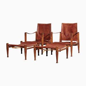 Sedie Safari con poggiapiedi di Kaare Klint per Rud Rasmussen, anni '50, set di 2
