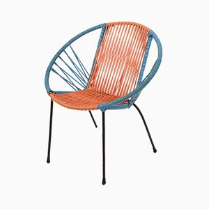 Italian Children's Metal & Plastic Red and Blue Chair, 1950s