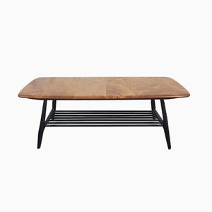 Mid-Century Coffee Table with Black Legs by Lucian Ercolani for Ercol