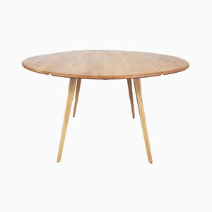 Mid-Century Round Drop Leaf Dining Table by Lucian Ercolani for Ercol