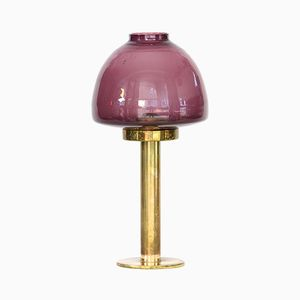 Swedish L102/32 Claudia Brass & Purple Glass Candle Holder by Hans-Agne Jakobsson, 1960s