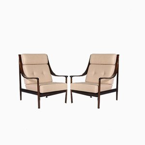 High Back Mahogany Lounge Chairs from Walter Knoll, 1960s, Set of 2