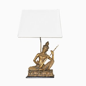 French Brass Birman Buddha Figure Table Lamp with Wood Base, 1960s