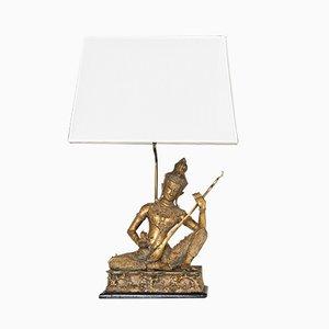 Lámpara de mesa de Buda Birman francesa de latón con base de madera, años 60