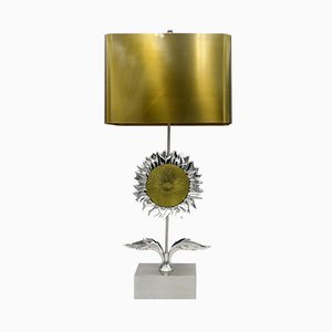 Vintage Tischlampe mit Fuß in Sonnenblumen-Optik von Maison Charles, 1970er