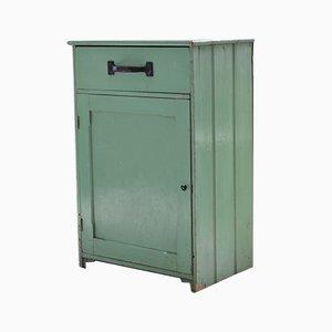 Mueble de cocina vintage de pino pintado en verde, años 10