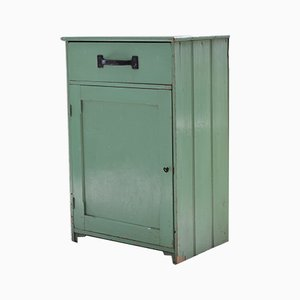 Vintage Green Painted Pine Kitchen Cabinet, 1910s