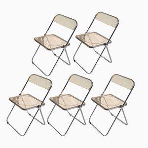 Gelbe Plia Stühle von Giancarlo Piretti für Castelli, 1970er, 5er Set