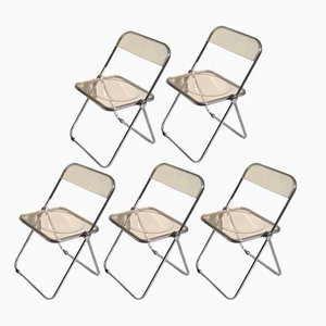Yellow Plia Chairs by Giancarlo Piretti for Castelli, 1970s, Set of 5