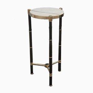 Runder italienischer Tisch aus Messing & Marmor, 1970er