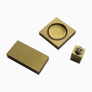 Conjunto para fumadores italiano de metal dorado de 24 quilates, años 70
