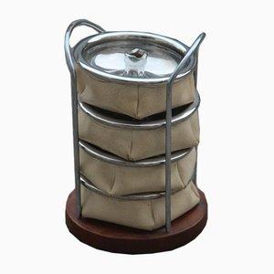 Cenicero portátil de cuero sintético y acero de Savinelli, años 70