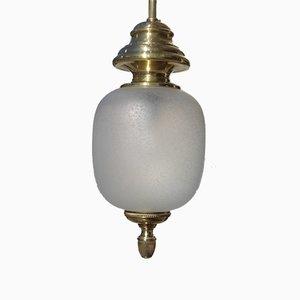 Lanterne Mid-Century en Laiton & Verre Satiné de Lumi