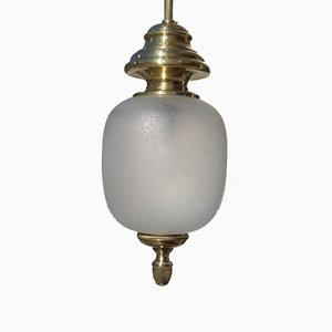 Mid-Century Modern Brass & Satin Glass Lantern from Lumi
