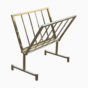 Geometric Brass Magazine Rack, 1970s