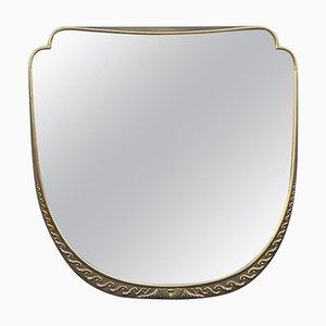 Espejo de pared italiano Mid-Century con lacado y pan de oro