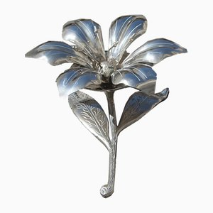 Carved Metal Flower Ashtray, 1960s