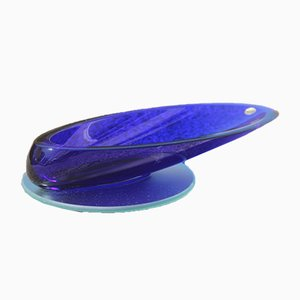 Oval Cobalt Blue Crystal Bowl, 1980s