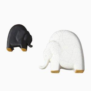 Elefantes de porcelana de Studiolinea, años 70. Juego de 2