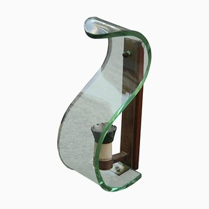 Aplique de vidrio curvado y latón, años 50