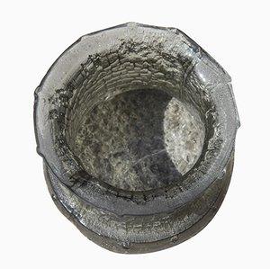 Vaso brutalista in vetro grigio di Timo Sarpaneva, anni '60