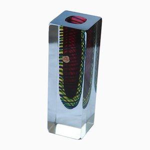 Jarrón pequeño cuadrado de cristal de Murano, años 60