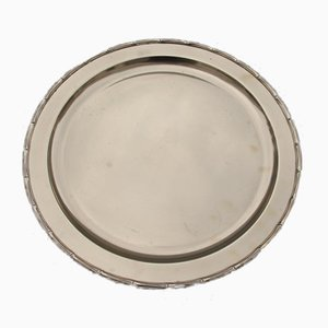 Round Engraved Solid Brass Tray, 1970s