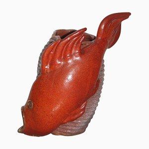 Pez rojo Mid-Century de cerámica, años 50