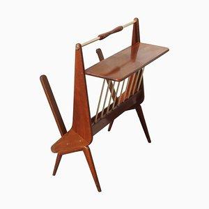 Revistero italiano Mid-Century geométrico moderno de madera y latón, años 50