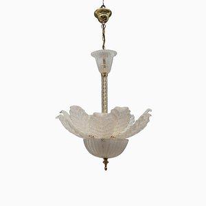 Lampe à Suspension Florale en Verre de Murano et Plaqué Or, 1970s