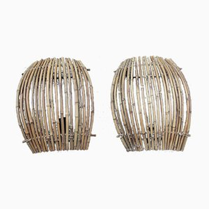 Large Italian Rattan Sconces, 1950s, Set of 2
