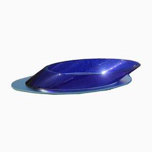 Cuenco grande ovalado en azul cobalto, años 80