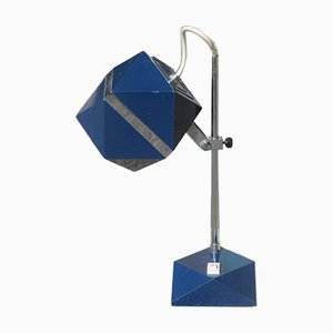 Lámpara de mesa hexagonal en azul, años 70