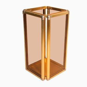Italian Brass & Smoked Glass Umbrella Stand, 1960s