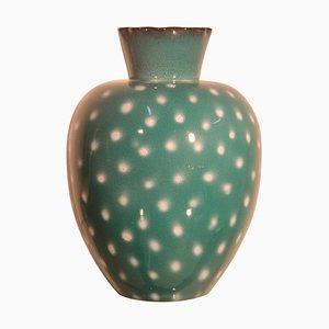 Jarrón italiano de cerámica verde y blanca, años 50